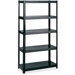 "Safco Boltless Steel Shelving Storage Unit/Wrkbnch - 5 Compartment(s) - 72"" Height x 36"" Width x 24"" Depth - Floor - Black - Steel - 1Each"
