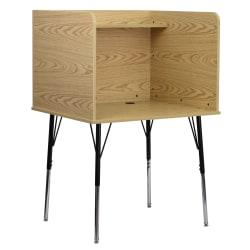 "Flash Furniture Adjustable Study Carrel, 53-1/2""H x 35-3/4""W x 30""D, Oak/Black"