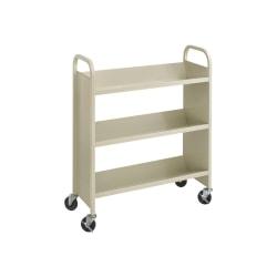 "Safco Steel 3-Shelf Single-Sided Book Carts - 3 Shelf - 2.50"" Caster Size - Steel - x 36"" Width x 14.5"" Depth x 43.5"" Height - Sand - 1 Each"