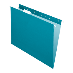 "Office Depot® Brand 2-Tone Hanging File Folders, 1/5 Cut, 8 1/2"" x 11"", Letter Size, Teal, Box Of 25 Folders"