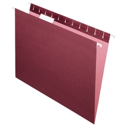 "Office Depot® Brand 2-Tone Hanging File Folders, 1/5 Cut, 8 1/2"" x 11"", Letter Size, Maroon, Box Of 25 Folders"