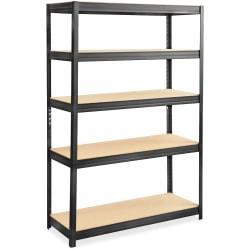 "Safco® Boltless Steel/Particleboard Shelving, 5 Shelves, 72""H x 48""W x 18""D, Black"