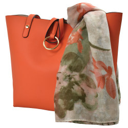 GNBI Faux Leather Tote Bag With Scarf, Orange