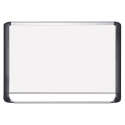 "MasterVision® Porcelain Dry-Erase Whiteboard, 24"" x 36"", Aluminum Frame With Silver/Black Finish"