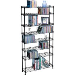 Atlantic 8 Tier Adjustable Multi-Media Storage Rack, Black Steel