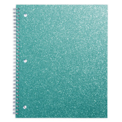 "Office Depot® Brand Glitter 3-Hole-Punched Notebook, 8-1/2"" x 10-1/2"", Wide Ruled, 160 Pages (80 Sheets), Teal Glitter"