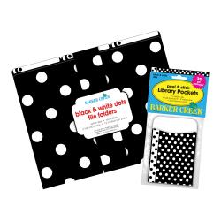 "Barker Creek Folder/Pocket Set, 9"" x 12"", Black & White Dot, Set of 42"