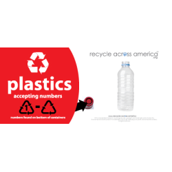 "Recycle Across America Plastics With Number Standardized Recycling Label, PLASS#-0409, 4"" x 9"", Red"