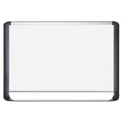 "MasterVision® Porcelain Dry-Erase Whiteboard, 48"" x 72"", Aluminum Frame With Silver/Black Finish"