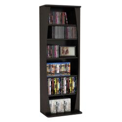 "Atlantic Canoe Multimedia Cabinet - 231 x CD, 115 x DVD, 140 x Blu-ray - 43"" Height x 9.5"" Width x 15"" Depth - Compact, Adjustable, Lightweight - Espresso - MDF, Steel, Wood"