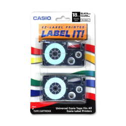 """Casio® XR18X2S Black-On-Clear Tapes, 0.75"""", Pack Of 2"""