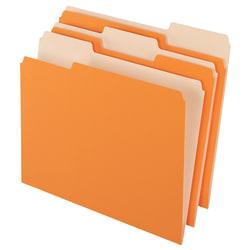 Office Depot® Brand 2-Tone Color File Folders, 1/3 Tab Cut, Letter Size, Orange, Pack Of 100 Folders