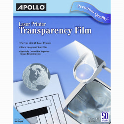 "Apollo® Laser Printer Transparency Film, 8 1/2"" x 11"", Box Of 50 Sheets"