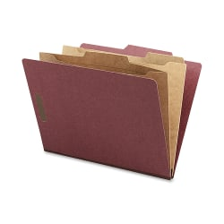 Nature Saver Classification Folders With Pocket Dividers, Letter Size, 100% Recycled, Red, Box Of 10