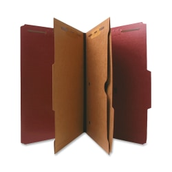 Nature Saver Classification Folders With Pocket Dividers, Legal Size, 75% Recycled, Red, Box Of 10