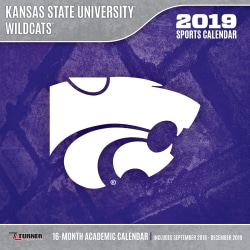 """Turner Sports Monthly Wall Calendar, 12"""" x 12"""", Kansas State Wildcats, January to December 2019"""