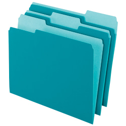 Office Depot® Brand 2-Tone File Folders, 1/3 Tab, Letter Size, Teal, Pack Of 100