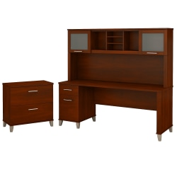 "Bush Furniture Somerset 72""W Office Desk With Hutch And Lateral File Cabinet, Hansen Cherry, Standard Delivery"