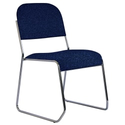 "OfficeStor Series 601 Padded Fabric Seat, Fabric Back Stacking Chair, 18"" Seat Width, Galaxy Blue Seat/Chrome Frame, Quantity: 1"