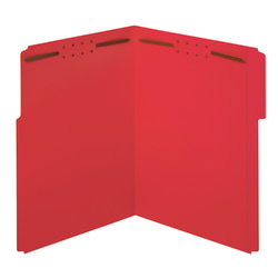 "Office Depot® Color Fastener File Folders, Letter Size (8-1/2"" x 11""), 2"" Expansion, Red, Box Of 50"