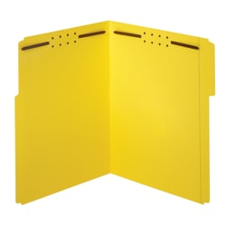 "Office Depot® Brand Color Fastener File Folders, 8 1/2"" x 11"", Letter, Yellow, Box of 50"
