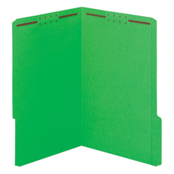 "Office Depot® Color Fastener File Folders, Legal Size (8-1/2"" x 14""), 2"" Expansion, Green, Box Of 50"