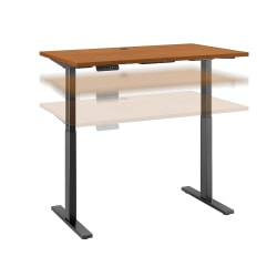 """Bush Business Furniture Move 60 Series 48""""W x 24""""D Height Adjustable Standing Desk, Natural Cherry/Black Base, Standard Delivery"""