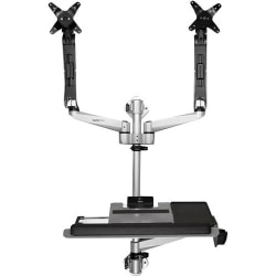 """StarTech.com Wall Mounted Computer Workstation - Premium - Articulating Dual Monitor Arm - Keyboard Arm - Wall Mount Sit Stand Desk - Compact wall mounted computer workstation for dual monitors up to 30"""" (up to 19.8lb/9kg per display"""