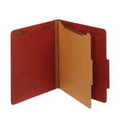 "Office Depot® Brand Pressboard Classification Folders With Fasteners, 1 Divider, Letter Size (8-1/2"" x 11""), 2"" Expansion, 100% Recycled, Red, Box Of 10"