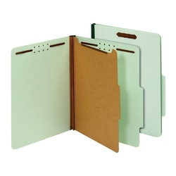 "Office Depot® Classification Folders, 1 Divider, Letter Size (8-1/2"" x 11""), 1-3/4"" Expansion, 100% Recycled, Light Green, Box Of 10"