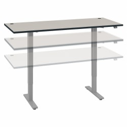 """Move 40 Series by Bush Business Furniture 72""""W Electric Height-Adjustable Standing Desk, White Spectrum/Cool Gray Metallic, Standard Delivery"""