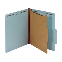 """Office Depot® Pressboard Classification Folders With Fasteners, Letter Size (8-1/2"""" x 11""""), 1-3/4"""" Expansion, 100% Recycled, Blue, Box Of 10"""