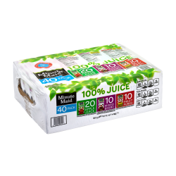Minute Maid 100% Juice Box Variety Pack, 6 Oz, Pack Of 40 Boxes
