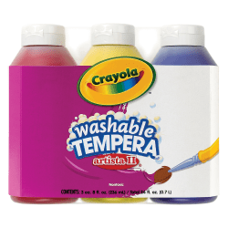 Crayola® Artista II® Tempera Paint Set, Primary Colors, 8 Oz, Pack Of 3