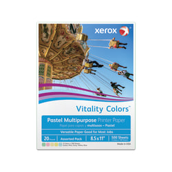 """Xerox® Vitality Colors™ Multi-Use Printer Paper, Letter Size (8 1/2"""" x 11""""), 20 Lb, 30% Recycled, Assorted Pastels, Ream Of 500 Sheets"""