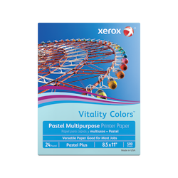 "Xerox® Vitality Colors™ Pastel Plus Multi-Use Printer Paper, Letter Size (8 1/2"" x 11""), 24 Lb, 30% Recycled, Blue, Ream Of 500 Sheets"