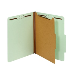 "Office Depot® Classification Folders, 1 Divider, Legal Size (8-1/2"" x 14""), 1-3/4"" Expansion, 100% Recycled, Green, Box Of 10"