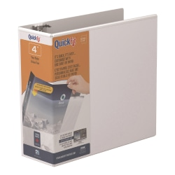 """Stride® QuickFit® Angle View 3-Ring Binder, 4"""" D-Rings, 48% Recycled, White"""