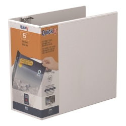 """Stride® QuickFit® Angle View 3-Ring Binder, 5"""" D-Rings, 46% Recycled, White"""