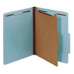 "Office Depot® Pressboard Classification Folders With Fasteners, Legal Size (8-1/2"" x 14""), 1-3/4"" Expansion, 100% Recycled, Blue, Box Of 10"