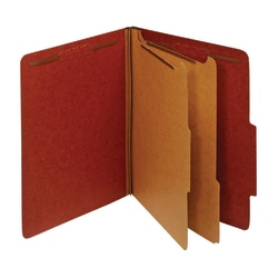 "Office Depot® Brand Pressboard Classification Folders With Fasteners, 2 Dividers, Letter Size (8-1/2"" x 11""), 2"" Expansion, 100% Recycled, Red, Box Of 10"