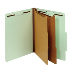 "Office Depot® Brand Pressboard Classification Folders With Fasteners, Letter Size (8-1/2"" x 11""), 2-1/2"" Expansion, 100% Recycled, Green, Box Of 10"