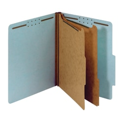 "Office Depot® Brand Pressboard Classification Folders With Fasteners, Letter Size (8-1/2"" x 11""), 2-1/2"" Expansion, 100% Recycled, Blue, Box Of 10"