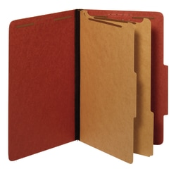 "Office Depot® Brand Pressboard Classification Folders With Fasteners, Legal Size (8-1/2"" x 14""), 2-1/2"" Expansion, 100% Recycled, Red, Box Of 10"