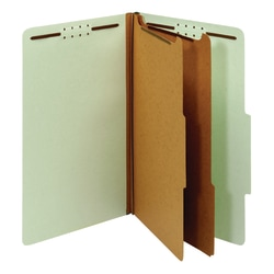 """Office Depot® Pressboard Classification Folders With Fasteners, Legal Size (8-1/2"""" x 14""""), 2-1/2"""" Expansion, 100% Recycled, Light Green, Box Of 10"""
