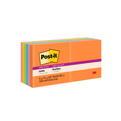 "Post it® Super Sticky Notes, 3"" x 3"", Rio de Janeiro, Pack Of 12 Pads"