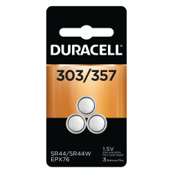 Duracell Silver Oxide 303/357 Button Batteries, Pack Of 3