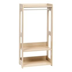 """IRIS Compact Wood Garment Rack, 47-1/4""""H x 23-5/8""""W x 12-5/8""""D, Light Brown"""