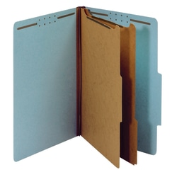 "Office Depot® Brand Classification Folders, 2 Dividers, Legal Size (8-1/2"" x 14""), 2-1/2"" Expansion, 100% Recycled, Blue, Box Of 10"