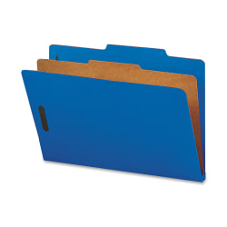 "Smead® Classification Folders, With SafeSHIELD® Coated Fasteners, 1 Divider, 2"" Expansion, Legal Size, 50% Recycled, Dark Blue, Box Of 10"